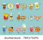 cartoon funny friends fast food ... | Shutterstock .eps vector #785173291