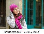 a young girl walks along the... | Shutterstock . vector #785176015