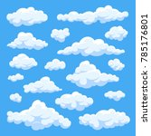 fluffy white cartoon clouds in... | Shutterstock . vector #785176801