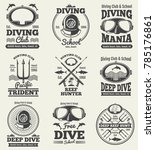 scuba diving vintage labels.... | Shutterstock . vector #785176861