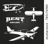 white airplanes collection on... | Shutterstock . vector #785176984