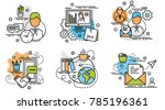 set of outline icons of client. ... | Shutterstock .eps vector #785196361