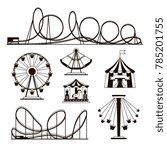 amusement park  roller coasters ... | Shutterstock . vector #785201755