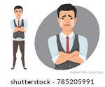 the asian guy crossed his arms... | Shutterstock .eps vector #785205991