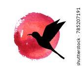 flying bird silhouette at red... | Shutterstock .eps vector #785207191