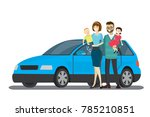 cartoon happy family and blue... | Shutterstock .eps vector #785210851