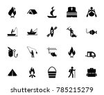 hunting and fishing icon set | Shutterstock .eps vector #785215279