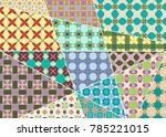 vector patchwork quilt pattern. ... | Shutterstock .eps vector #785221015