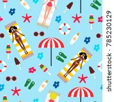 summertime seamless pattern.... | Shutterstock .eps vector #785230129