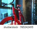 red sports bike stands at the... | Shutterstock . vector #785242495