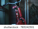 red sports bike fix stands at...   Shutterstock . vector #785242501