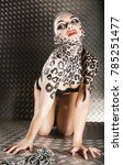 young sexy woman with leopard... | Shutterstock . vector #785251477