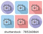 outlined icon of oil storage... | Shutterstock . vector #785260864