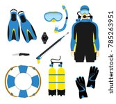 snorkeling and scuba diving set ... | Shutterstock .eps vector #785263951