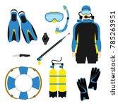 snorkeling and scuba diving set ... | Shutterstock .eps vector #785263951