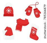 red winter clothes with... | Shutterstock .eps vector #785266879