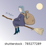 christmas witch befana flying... | Shutterstock .eps vector #785277289