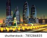 Futuristic City At Night   3d...
