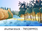 colorful winter forest... | Shutterstock .eps vector #785289901