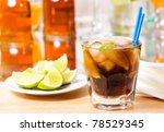 cocktail with lime and cola | Shutterstock . vector #78529345