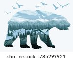 double exposure  bear and... | Shutterstock .eps vector #785299921