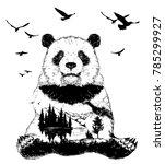 double exposure  panda bear and ... | Shutterstock .eps vector #785299927