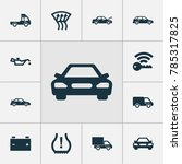 automobile icons set with truck