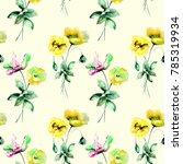 seamless wallpaper with summer... | Shutterstock . vector #785319934