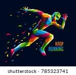 geometric colorful running man | Shutterstock .eps vector #785323741