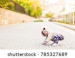 funny girl running and crawling ... | Shutterstock . vector #785327689