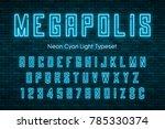 megapolis neon light alphabet ... | Shutterstock .eps vector #785330374
