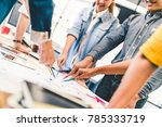 group of multi ethnic diverse... | Shutterstock . vector #785333719