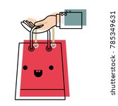 hand holding a trapezoid kawaii ... | Shutterstock .eps vector #785349631