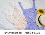 Lilac And Peach Dress  Straw...