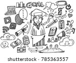 hand drawn happy student in... | Shutterstock .eps vector #785363557