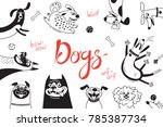 Stock vector card with joyful dogs and happy puppies vector background with mongrels sheepdog dachshund lap 785387734