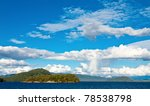 Cumulus cloudscape over the Lake Manapouri in the South Island of New Zealand - stock photo