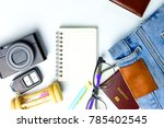 travel planning accessories on... | Shutterstock . vector #785402545