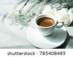espresso coffee on white... | Shutterstock . vector #785408485
