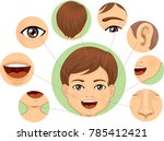 illustration of a kid boy with... | Shutterstock .eps vector #785412421