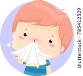 illustration of a sick kid boy... | Shutterstock .eps vector #785412529
