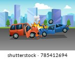 a vector of two cars in an... | Shutterstock .eps vector #785412694