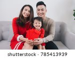 happy vietnamese family... | Shutterstock . vector #785413939