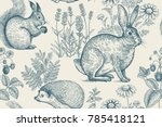 Stock vector forest animals and plants seamless pattern hare hedgehog squirrel berries strawberry flowers 785418121