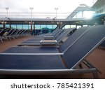 cruise ship deck chairs ready... | Shutterstock . vector #785421391