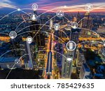 aerial view of city scape with... | Shutterstock . vector #785429635