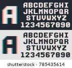 pixel video game font  retro 8... | Shutterstock .eps vector #785435614