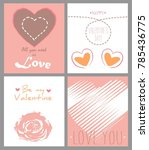 set of valentine's day card in... | Shutterstock .eps vector #785436775