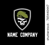 military skull logo with shield | Shutterstock .eps vector #785440447