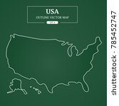 usa map outline on green... | Shutterstock .eps vector #785452747